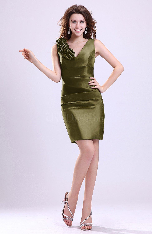 Olive Green Modern V-neck Zip up Short Ruching Cocktail Dresses ...