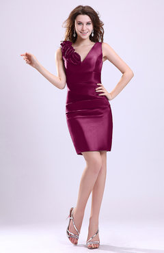 Raspberry Modern V-neck Zip up Short Ruching Cocktail Dresses