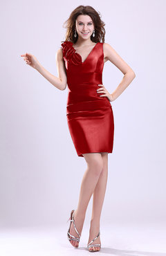 Red Modern V-neck Zip up Short Ruching Cocktail Dresses
