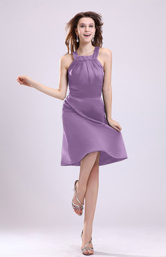 Begonia Simple A-line Square Zipper Knee Length Ribbon Graduation Dresses