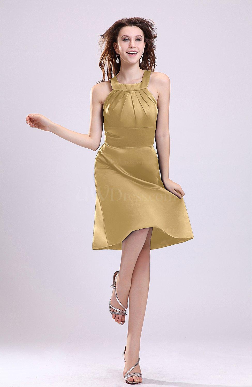 Gold Simple A Line Square Zipper Knee Length Ribbon