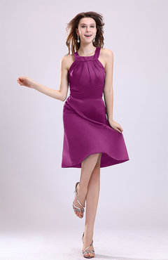 Raspberry Simple A-line Square Zipper Knee Length Ribbon Graduation Dresses
