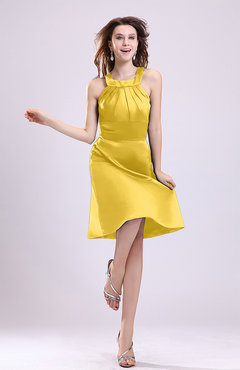 Yellow Simple A-line Square Zipper Knee Length Ribbon Graduation Dresses
