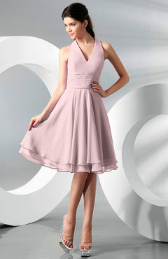Blush Simple A Line Halter Zip Up Chiffon Bridesmaid Dresses