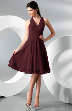Burgundy Simple A-line Halter Zip up Chiffon Bridesmaid Dresses