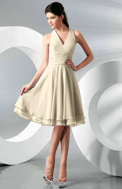 Champagne Simple A-line Halter Zip up Chiffon Bridesmaid Dresses