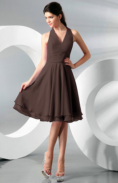 Chocolate Brown Simple A-line Halter Zip up Chiffon Bridesmaid Dresses