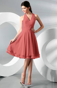 Coral Simple A-line Halter Zip up Chiffon Bridesmaid Dresses