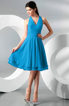 Cornflower Blue Simple A-line Halter Zip up Chiffon Bridesmaid Dresses