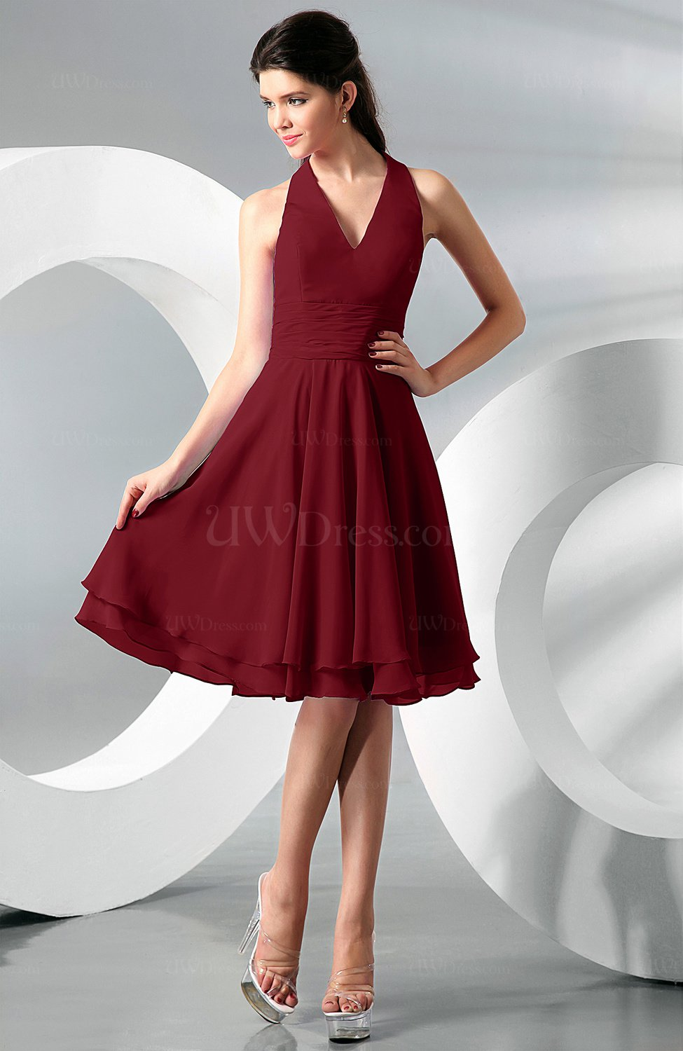 Dark red simple a line halter zip up chiffon bridesmaid dresses simple a line halter zip up chiffon bridesmaid dresses ombrellifo Image collections