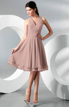 Dusty Rose Simple A-line Halter Zip up Chiffon Bridesmaid Dresses
