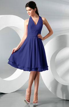 Electric Blue Simple A-line Halter Zip up Chiffon Bridesmaid Dresses