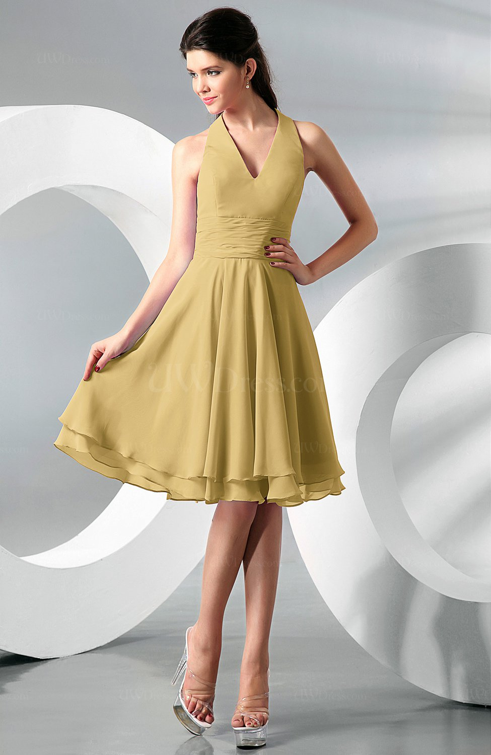 Gold Simple A Line Halter Zip Up Chiffon Bridesmaid