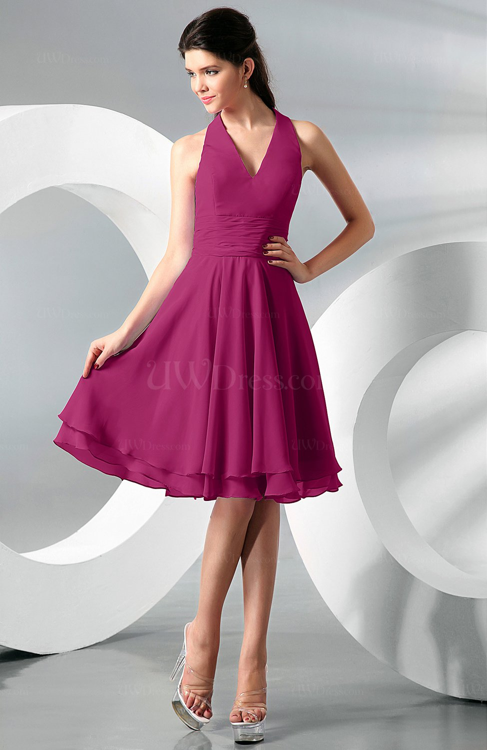 Hot pink simple a line halter zip up chiffon bridesmaid for Aline halter wedding dresses