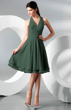 Hunter Green Simple A-line Halter Zip up Chiffon Bridesmaid Dresses