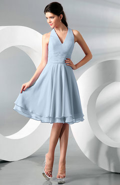 Ice Blue Simple A-line Halter Zip up Chiffon Bridesmaid Dresses