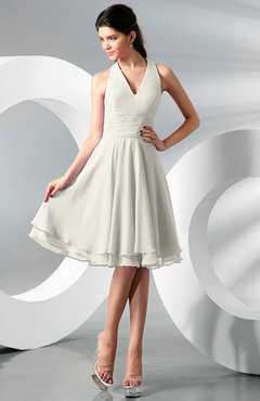 Ivory Simple A-line Halter Zip up Chiffon Bridesmaid Dresses