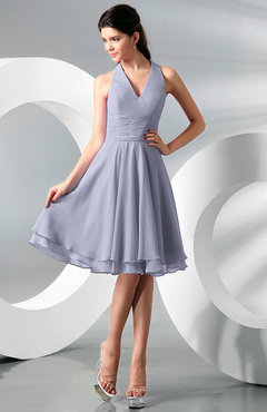 Lavender Simple A-line Halter Zip up Chiffon Bridesmaid Dresses