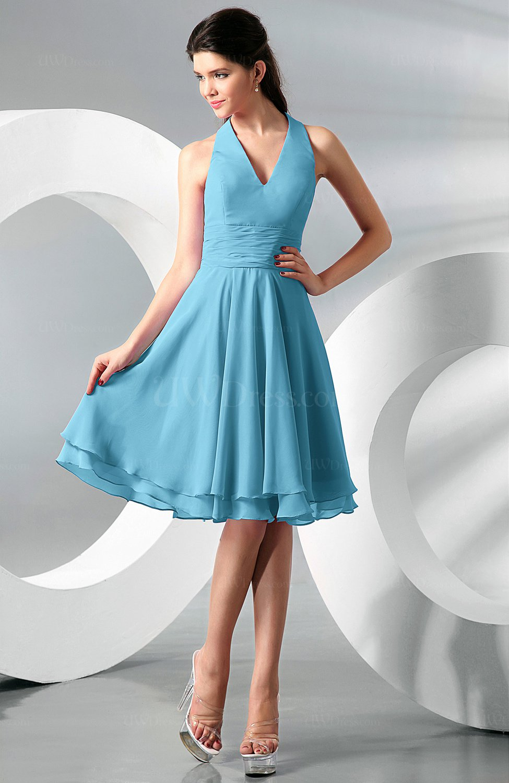 Light Blue Simple A-line Halter Zip up Chiffon Bridesmaid Dresses ...