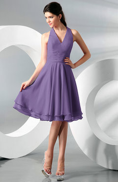 Lilac Simple A-line Halter Zip up Chiffon Bridesmaid Dresses