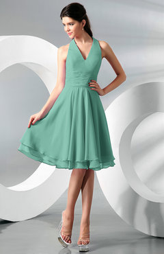 Mint Green Simple A-line Halter Zip up Chiffon Bridesmaid Dresses