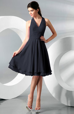 Navy Blue Simple A-line Halter Zip up Chiffon Bridesmaid Dresses