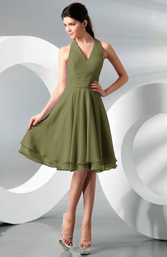 Olive Green Color Cocktail Dresses - UWDress.com