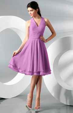 Orchid Simple A-line Halter Zip up Chiffon Bridesmaid Dresses