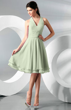 Pale Green Simple A-line Halter Zip up Chiffon Bridesmaid Dresses