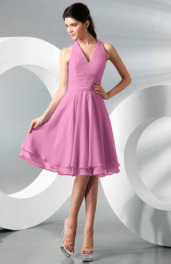 Pink Simple A-line Halter Zip up Chiffon Bridesmaid Dresses