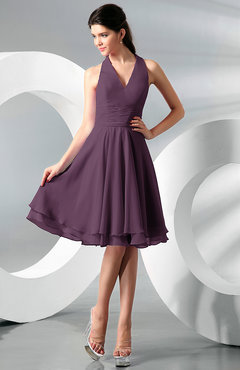 Plum Simple A-line Halter Zip up Chiffon Bridesmaid Dresses
