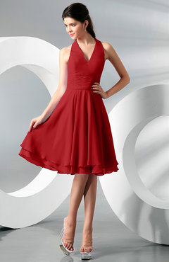 Red Simple A-line Halter Zip up Chiffon Bridesmaid Dresses