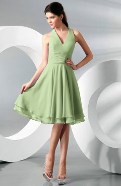 Sage Green Simple A-line Halter Zip up Chiffon Bridesmaid Dresses