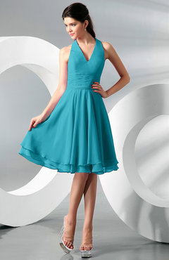 Teal Simple A Line Halter Zip Up Chiffon Bridesmaid Dresses