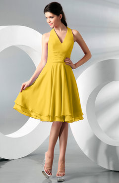 Yellow Simple A-line Halter Zip up Chiffon Bridesmaid Dresses