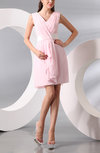 Modest A-line V-neck Chiffon Knee Length Wedding Guest Dresses
