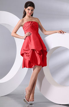 Coral Simple A-line Sleeveless Zip up Knee Length Bow Bridesmaid Dresses