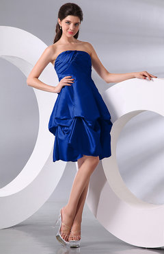 Electric Blue Simple A-line Sleeveless Zip up Knee Length Bow Bridesmaid Dresses