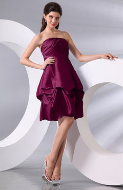 Raspberry Simple A-line Sleeveless Zip up Knee Length Bow Bridesmaid Dresses