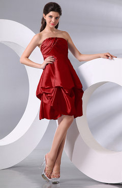 Red Simple A-line Sleeveless Zip up Knee Length Bow Bridesmaid Dresses