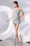 Plain Column Strapless Chiffon Short Ruching Prom Dresses