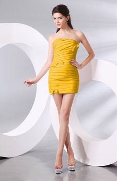 Yellow Plain Column Strapless Chiffon Short Ruching Prom Dresses