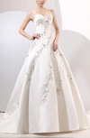 Cinderella Garden Sleeveless Zipper Satin Chapel Train Embroidery Bridal Gowns