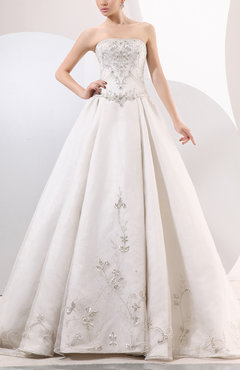 White Traditional Outdoor A-line Strapless Organza Chapel Train Bridal Gowns