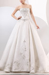 Traditional Outdoor A-line Strapless Organza Chapel Train Bridal Gowns