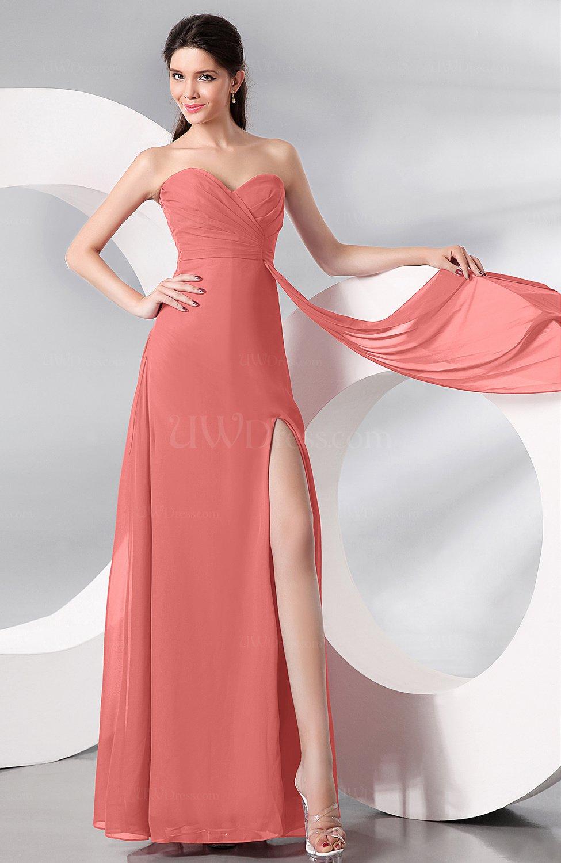 Coral Plain Sleeveless Zip Up Chiffon Floor Length Prom