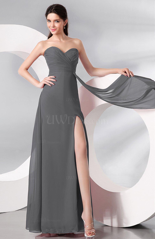 Grey Plain Sleeveless Zip up Chiffon Floor Length Prom Dresses ...
