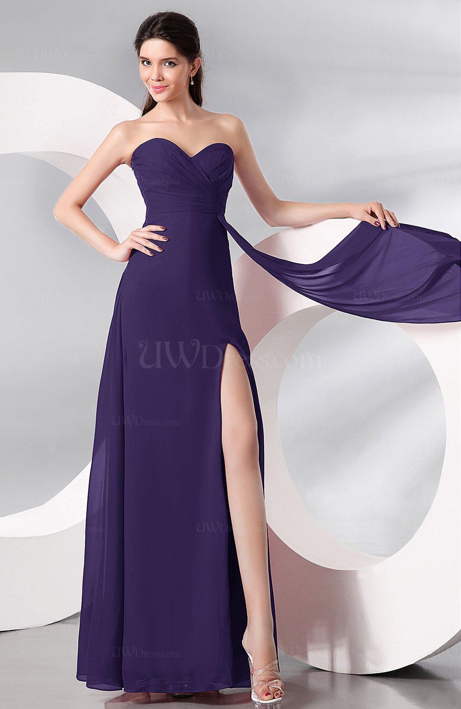 Royal Purple Plain Sleeveless Zip up Chiffon Floor Length Prom ...