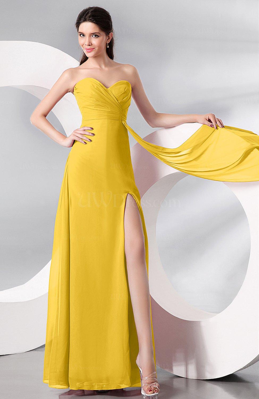 Yellow Plain Sleeveless Zip up Chiffon Floor Length Prom Dresses ...
