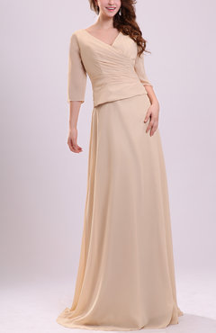 Cream Traditional Elbow Length Sleeve Chiffon Sweep Train Ruching Evening Dresses